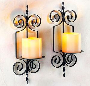 2 X Wandkerzenhalter Mit Led Kerzen Toskana Stil Romantik Metall