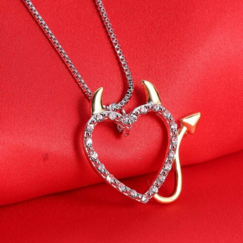 Women Charm White Gold Plated Crystal Rhinestone Hollow Heart Pendant Necklace