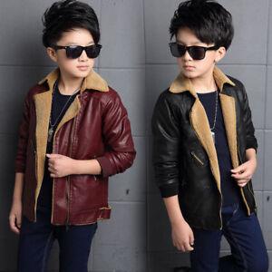 7893bf99b Winter Kids boy Fur collar PU Leather Jacket biker motorcycle fleece ...