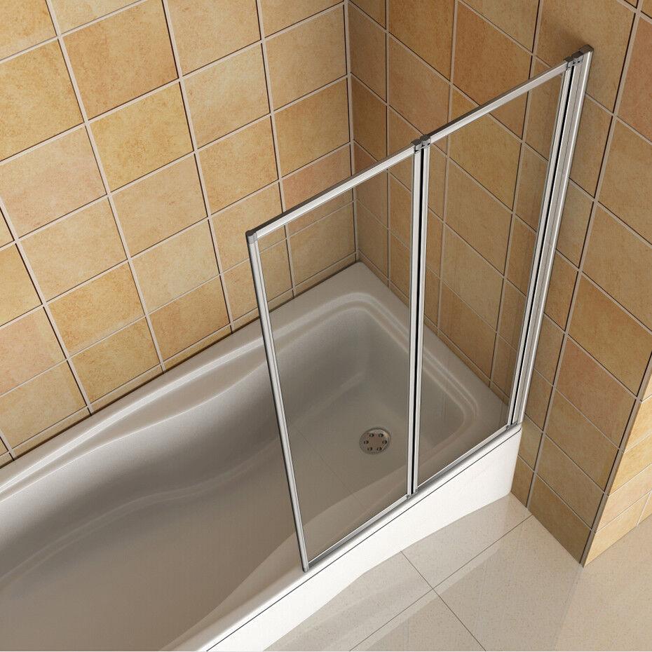 2-Fold 800x1400mm AICA Bathroom Folding Shower Bath Screen Glass Door Panel Si
