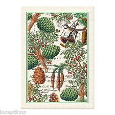 Michel Design Works Cotton Kitchen Tea Towel Spruce Berries Bird   NEW