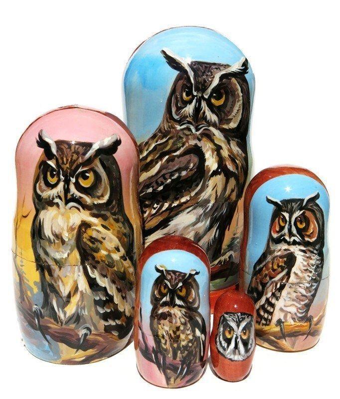 Owls 5-Pc Portrait Russian Babushka 2 Bird Realistic Painting Nesting Toy Dolls