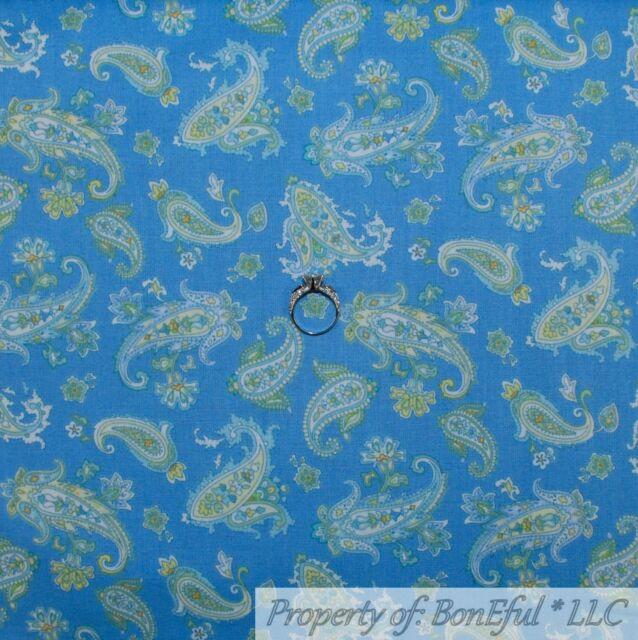 BonEful Fabric FQ Cotton Quilt Blue Aqua Teal L Paisley Flower Retro Shabby Chic