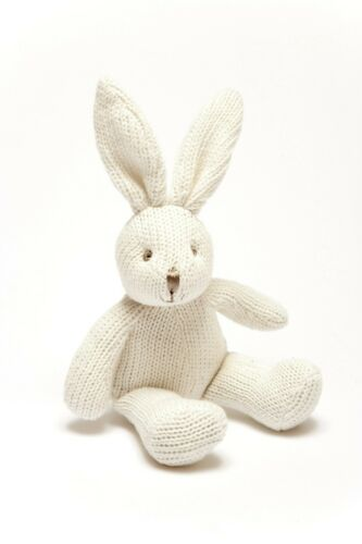 Pebble Knitted Organic White Bunny Baby Rattle