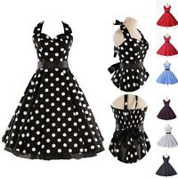 Vintage 50s 60s Party Polka Dot Swing Prom Cocktail Dress XS S M L XL