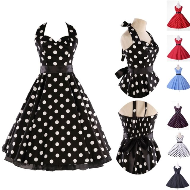 Polka Dots Women 50s Vintage Retro Sleeveless Halter Cocktail Party Swing Dress