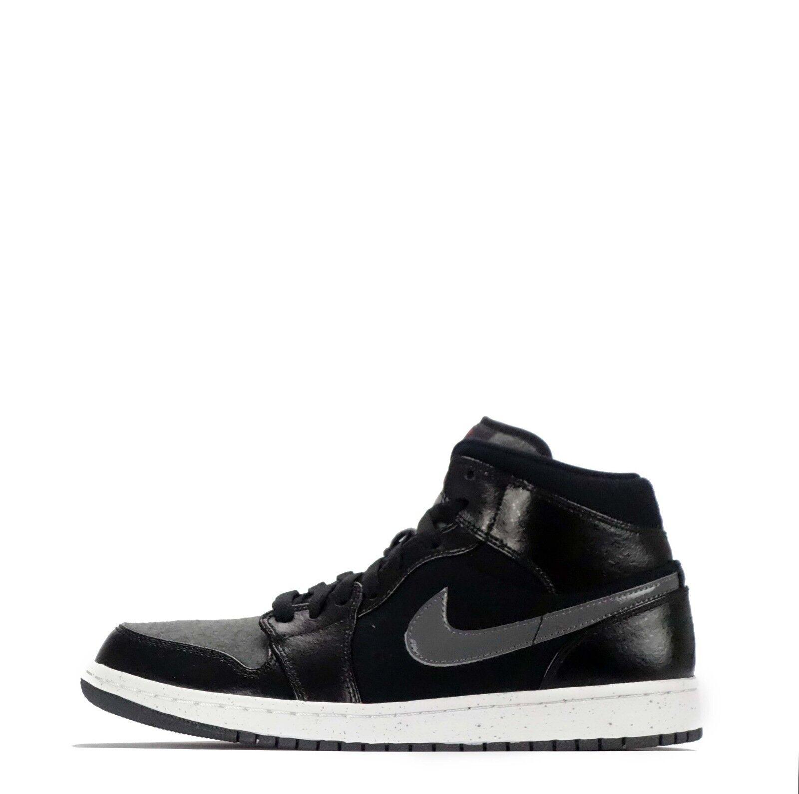 Nike Air Jordan 1 MID PREMIUM HERREN SCHUHE SCHWARZ/Turnhalle rot