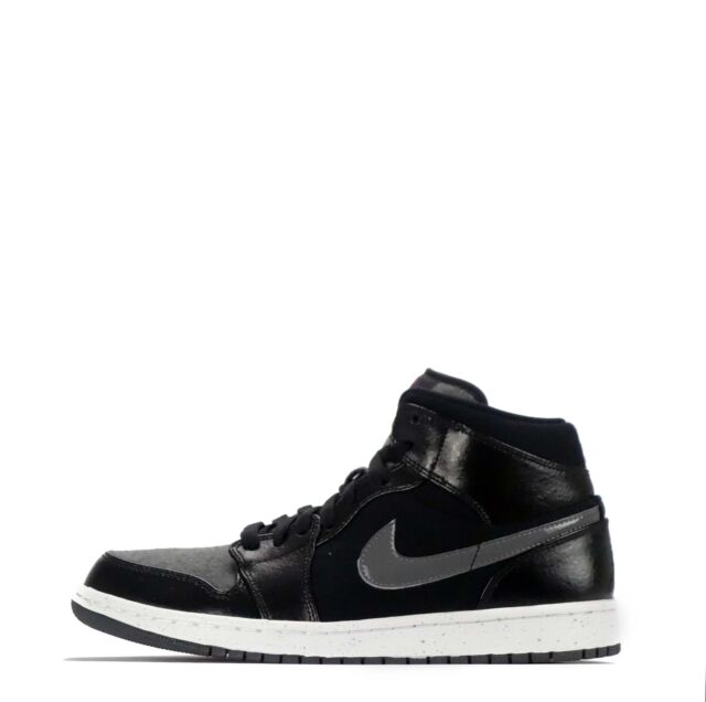 Nike Air Jordan 1 Mid Premium Men's Shoes BlackGym Red