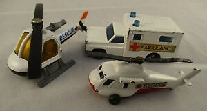 Vintage-Retro-Matchbox-Rescue-Bundle-1970-039-s-amp-80-039-s-Helicopters-and-Ambulance