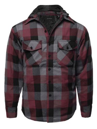 FashionOutfit Men/'s Casual Detachable Hoodie Plaid Flannel Quilted Button Jacket