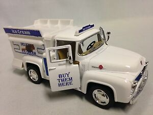 1956-Ford-F-100-Ice-Crem-Truck-5-5-034-Diecast-1-38-Pull-Back-Action-Toys-White