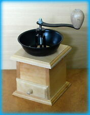 Solid Wooden Coffee Grinder mill Side Hand Beans Cranked UK NATURAL WOOD