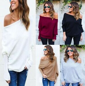 Oversize Lady Off Shoulder Batwing Sleeve Knit Sweater Tops ...