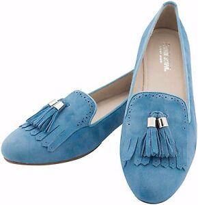 Mokassins-Slipper-Loafer-Ziegenleder-Blau-Leder-mit-Quasten-kleiner-Blockabsatz