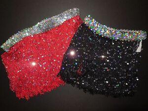 NWT-Dance-9-034-Spotlight-Fringe-Skirt-Sequin-Waist-Black-or-Red-Ladies-Girls-Szs