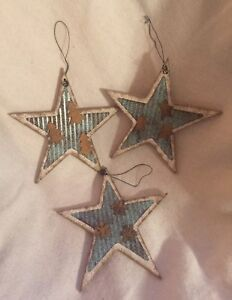 Details About Set 3 Kurt Adler Country Home Star Christmas Ornaments Wood Metal Blue White New