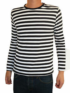 Mens Stripey t-shirt tee Black White nautical indie mod Top ...