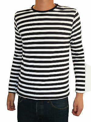 Gut Mens Stripey T-shirt Tee Black White Nautical Indie Mod Top Striped Vtg Jumper ZuverläSsige Leistung