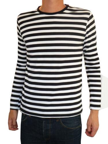 Para hombre a rayas Camiseta Tee Blanco Negro Náutica Indie Mod Top A Rayas VTG Jumper