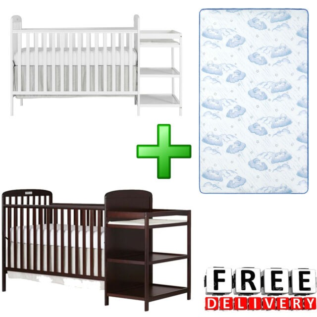 White Baby Crib Changing Table Mini Convertible 4 In 1 Nursery