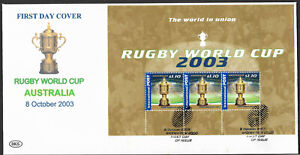 AUSTRALIA-2003-RUGBY-WORLD-CUP-1-10-Booklet-Pane-FIRST-DAY-COVER