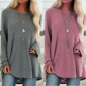 Women-Tunic-Ladies-Tops-Casual-T-shirt-Baggy-Sleeve-Pullover-Long-Loose-Jumper