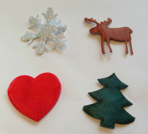 MAY ARTS CUT OUT SATIN SHAPE MOTIF 4CM RED VALENTINES HEART CHRISTMAS CRAFT