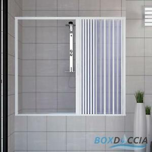 OVER BATH SHOWER ENCLOSURE PLASTIC PVC FOLDING SIDE OPENING DOORS ...