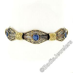 Antique-Art-Nouveau-18k-Two-Tone-Gold-6-Blue-Stone-amp-Filigree-Statement-Bracelet
