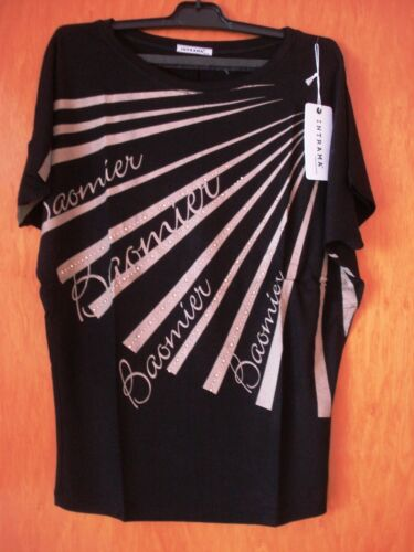 Schickes T-Shirt v.INTRAMA,Stretch,Gr.S//M,38//40,schwarz//grau,Metallnieten,Neu