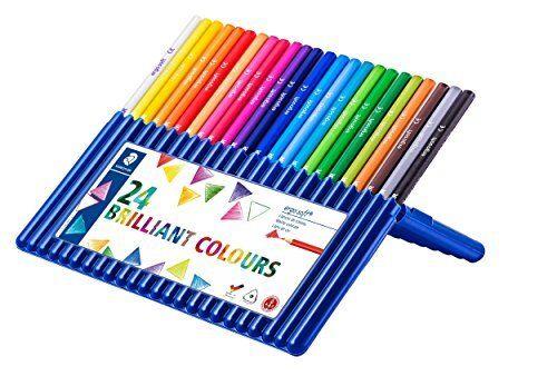 Staedtler 157 SB24 Ergosoft Triangular Colouring Pencils - Assorted Colours, Pac