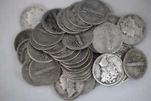 One Roll of Roosevelt Dimes 90/% Silver 5$ Face Value 50 Coins