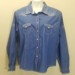Panhandle-XXL-Shirt-Top-Blouse-Western-Blue-Cotton-Snap-Down-Front-Jeweled-Bling