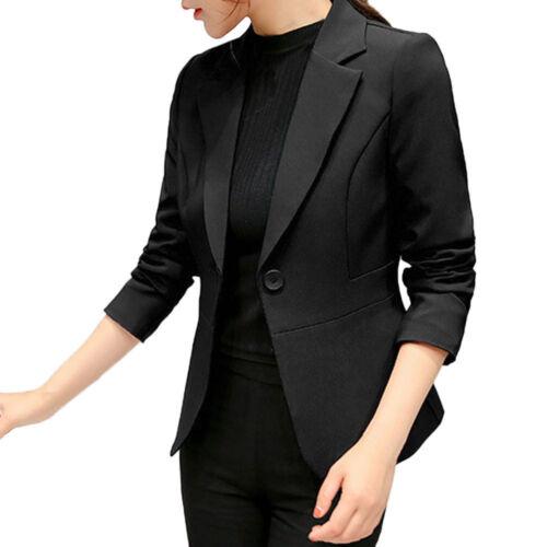 Autumn Women Solid Full Suit Office Work Cardigan Button Slim Short Coat Jacket