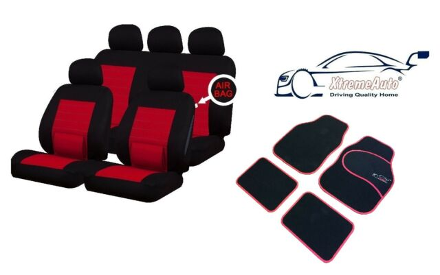 CAMDEN RED LUMBAR UNIVERSAL CAR SEAT COVERS + MATCHING SPORT CARPET MATS RENAULT