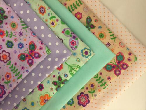 Per F//Q 1//2 Metre Butterflies Summer Garden Floral Polycotton Fabric Bunting Sew