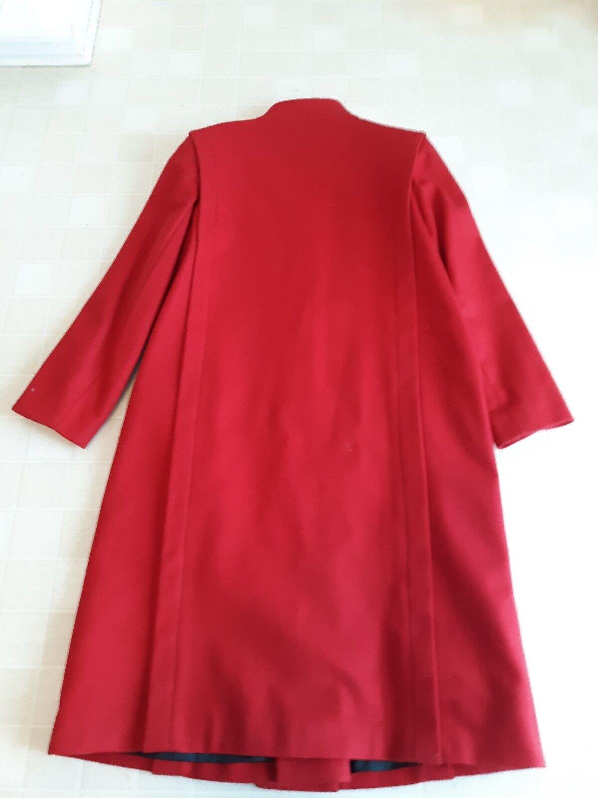 Women's Women's Women's Red  PURE WOOL  Long Dress Coat 9cb1f0