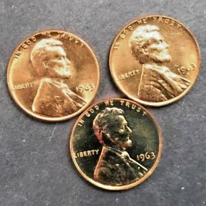 1963-P-amp-D-UNCIRCULATED-PLUS-1963-PROOF-LINCOLN-CENTS-3-COINS