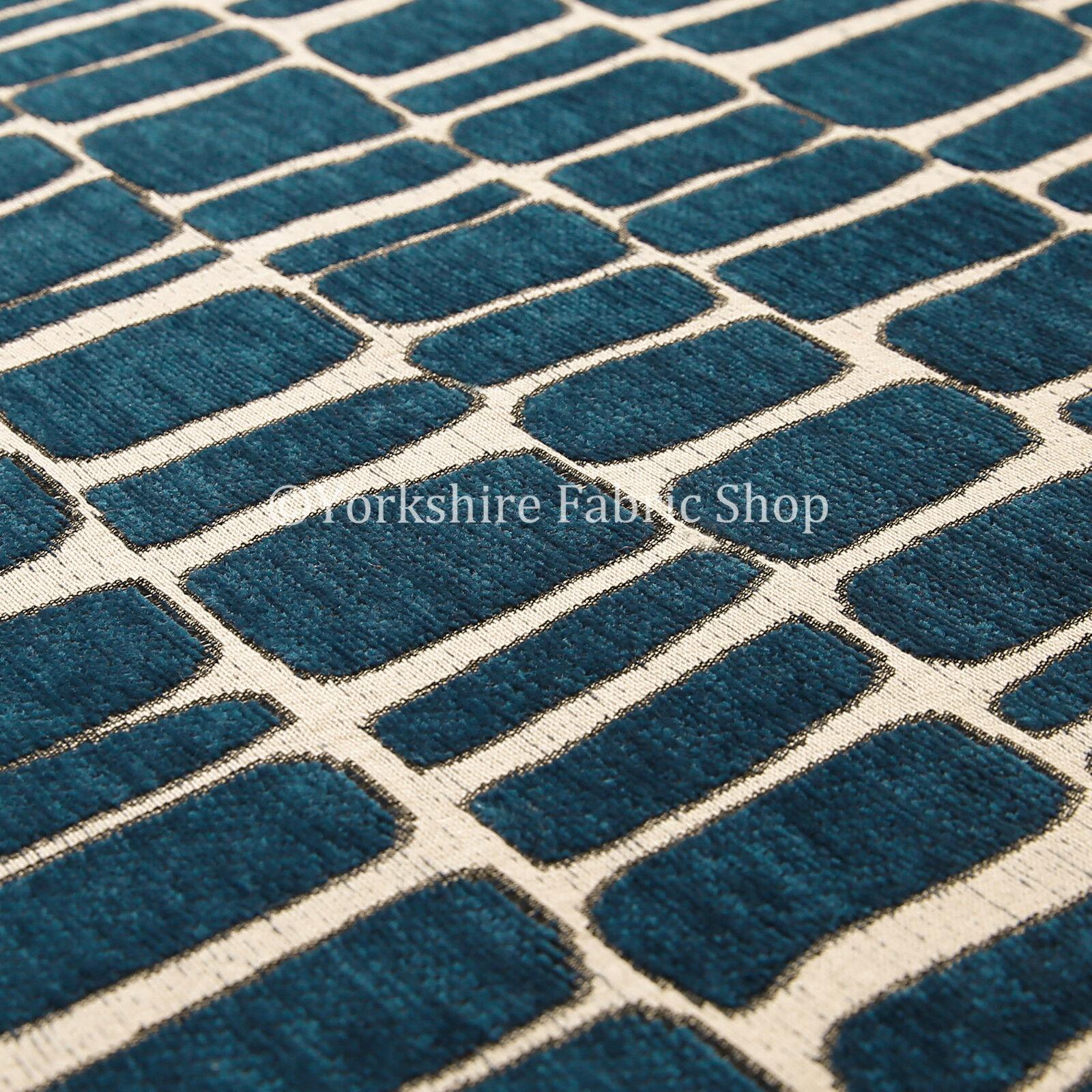 10 Metres Of Geometric Pattern Blue Cream Soft Woven
