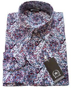 85f6c924e Relco Mens Multi Tonal Paisley Print Long Sleeve Shirt NEW Mod Retro ...
