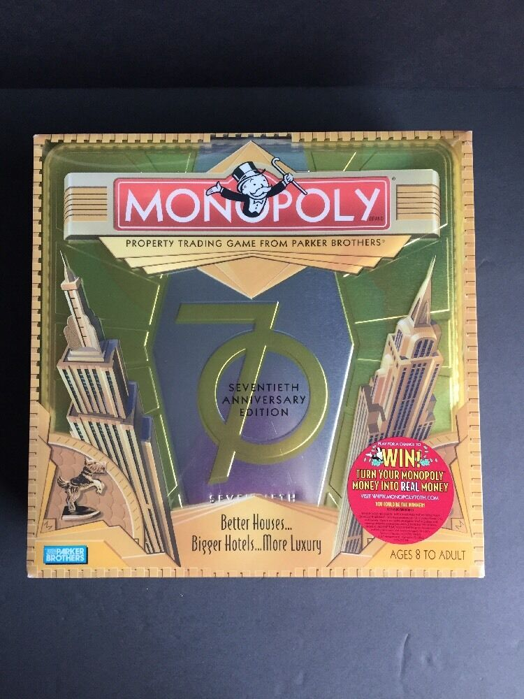 Parker Bredhers Monopoly Game 70th Anniversary Edition Board Game In Tin Box