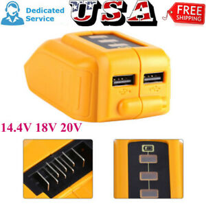 Dual-USB-Mobile-Battery-Charger-Adapter-For-Dewalt-14-4V-18V-20V-Slide-DCB090-QQ