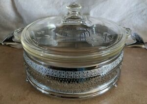 Vintage-Round-Casserole-Pyrex-Dish-with-etched-lid-ornate-pierced-metal-carrier