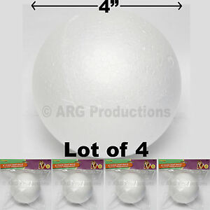 LOT OF 4 - 4 INCHES FOAM CRAFT BALLS - GREAT FOR CRAFT SCHOOL PROJECTS STYROFOAM