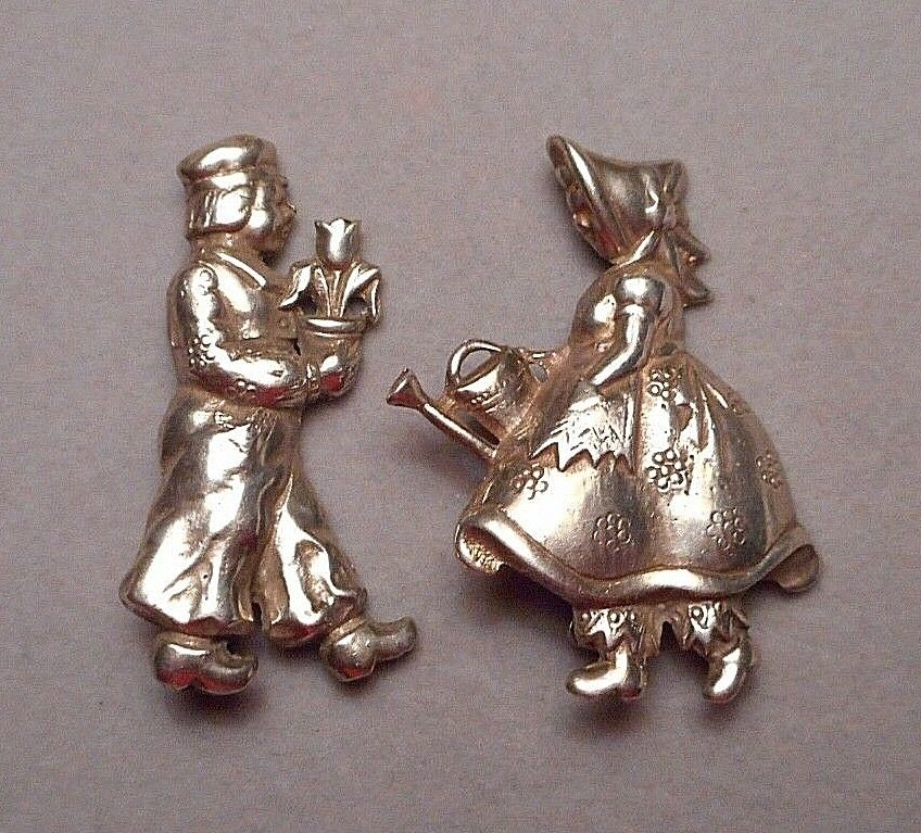 1940s Pair of Sterling Brooches - Dutch Boy & Girl - Tulips & Watering Can