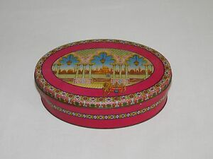 "VINTAGE KITCHEN P & S PAGE & SHAW 8 1/2"" OVAL TINDECO CANDY TIN BOX  *EMPTY*"