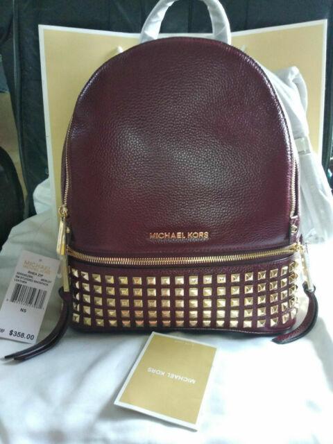 Ladies Bag Backpacks Michael Kors 30 S 5 gezb 5L Rhea Stud Zip Merlot New Hot