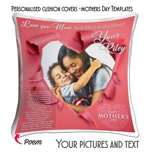 Personalised Custom Cushion Cover  Mothers Day Love Picture Text Poem Custom-MHS