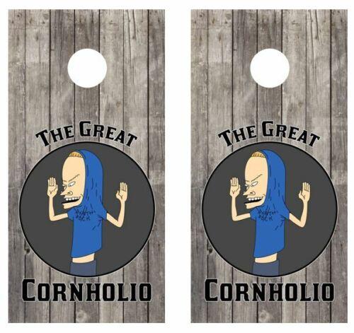 I am Cornholio Barnwood Cornhole Board Wraps FREE APPLICATION SQUEEGEE #3579