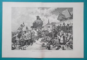 RUSSIA-Funeral-Festivities-in-Tver-Governorate-1880s-Wood-Engraving-Print